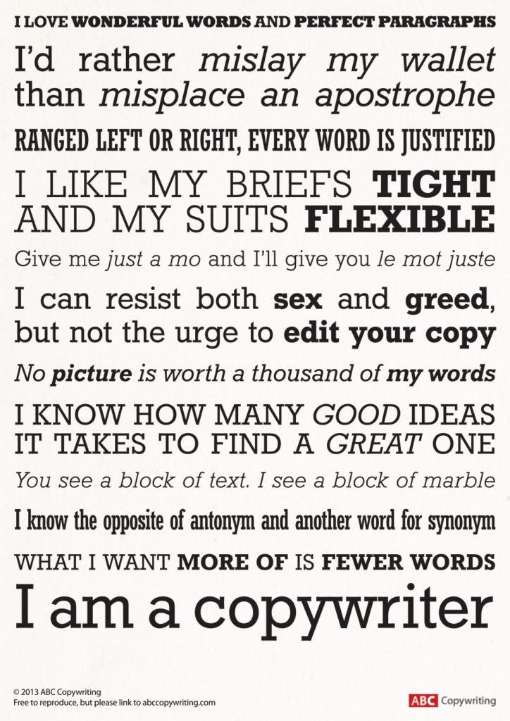 Freelance copywriter, copywriting